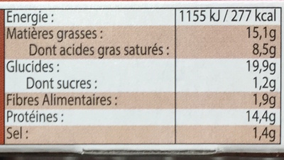 La Pizza 3 Fromages - Nutrition facts