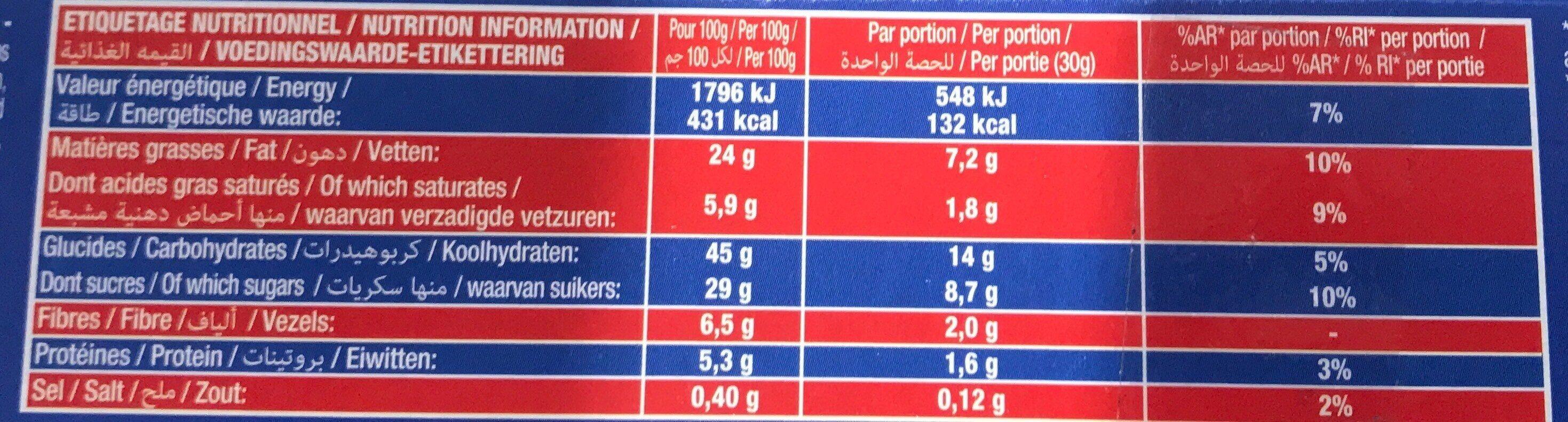 LE BROWNIE POCKET CHOCO PEPITES - Valori nutrizionali - fr