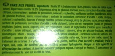 Cake au fruits - Ingredients - fr