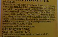 Museau Vinaig.400G.3E., - Ingredients - fr