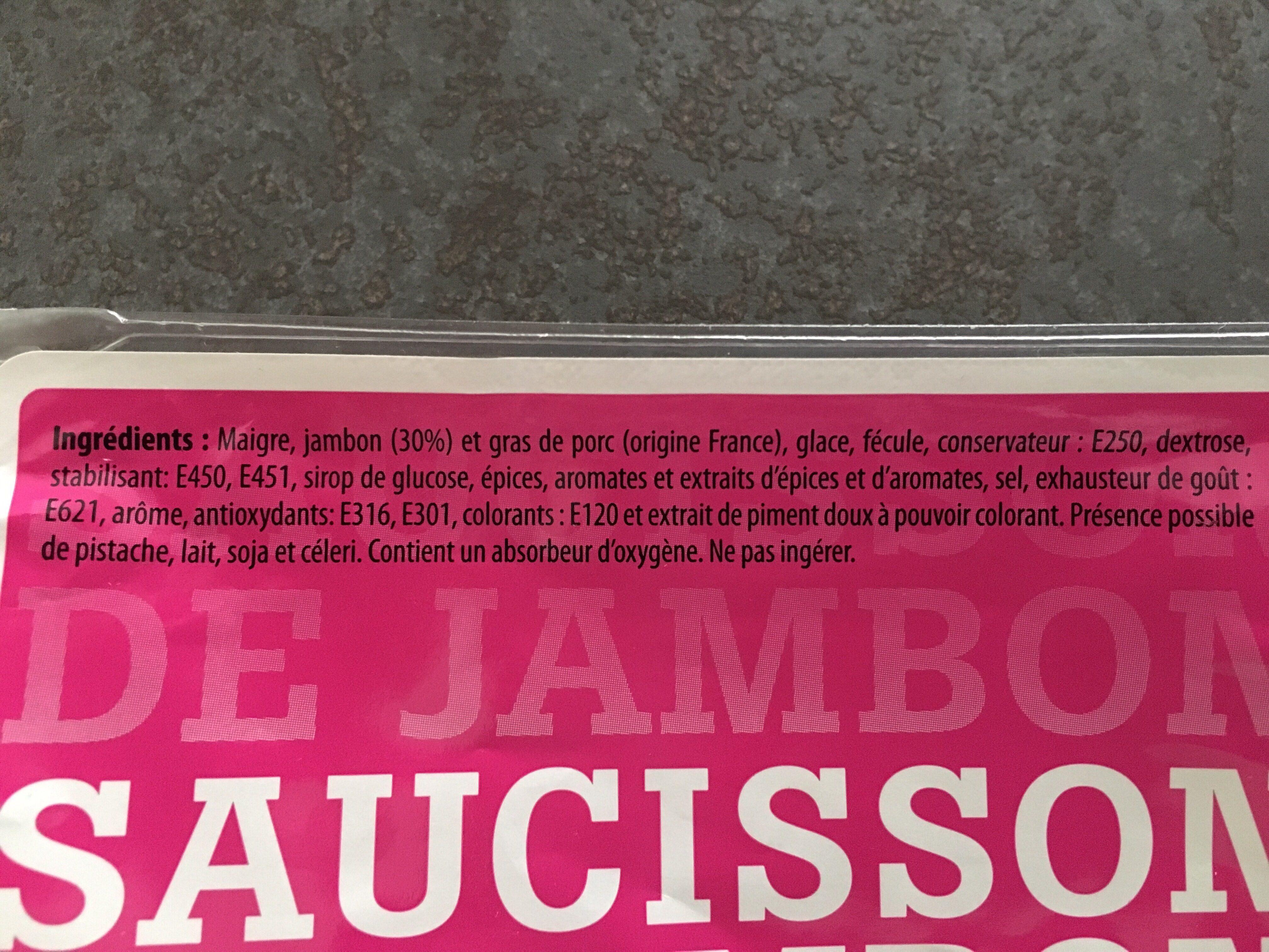 Spécialité de Saucisson au Jambon - Ingrediënten - es