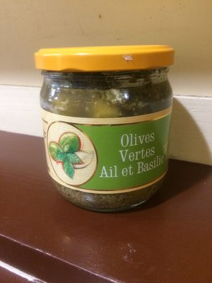 Olives vertes ail et basilic - Produit