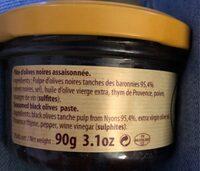 Pâte d'olives noires nyons - Ingrédients - fr