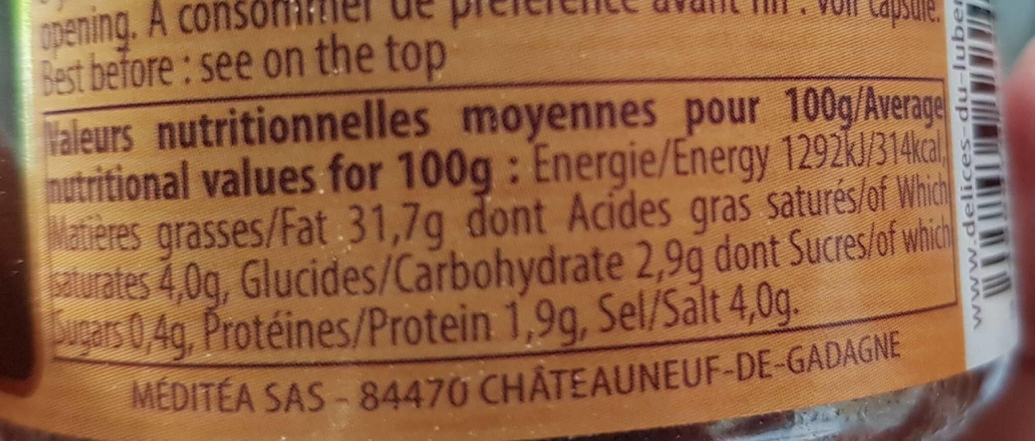 Tapenade noir - Informations nutritionnelles - fr