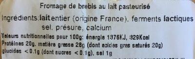 Brique du forez Au Lait De Brebis 200 G - Ingrédients - fr