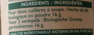 Jus D'herbe De Blé Bio - 150 g - Ingrediënten