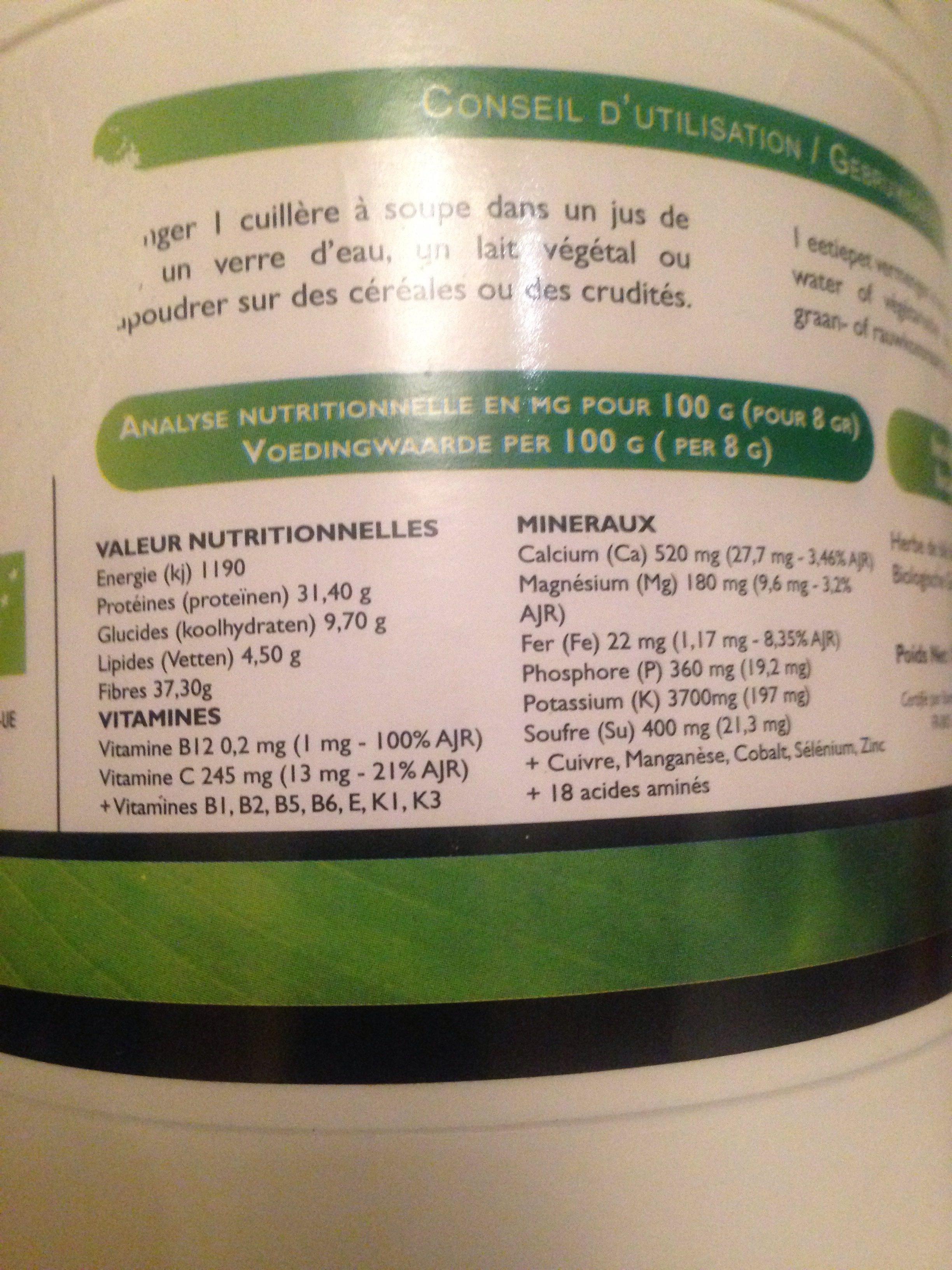 Jus d'Herbe de Blé - Ingrédients