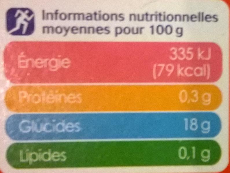 Dessert de fruits pomme fraise - Informations nutritionnelles - fr
