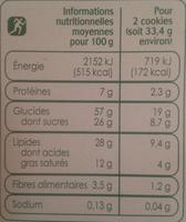 Cookies aux pépites de chocolat et aux noisettes - Voedingswaarden - fr