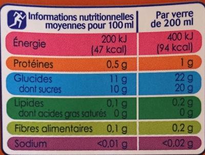 Jus Orange - Voedingswaarden - fr