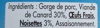 Terrine de canard aux noisettes - Ingredients