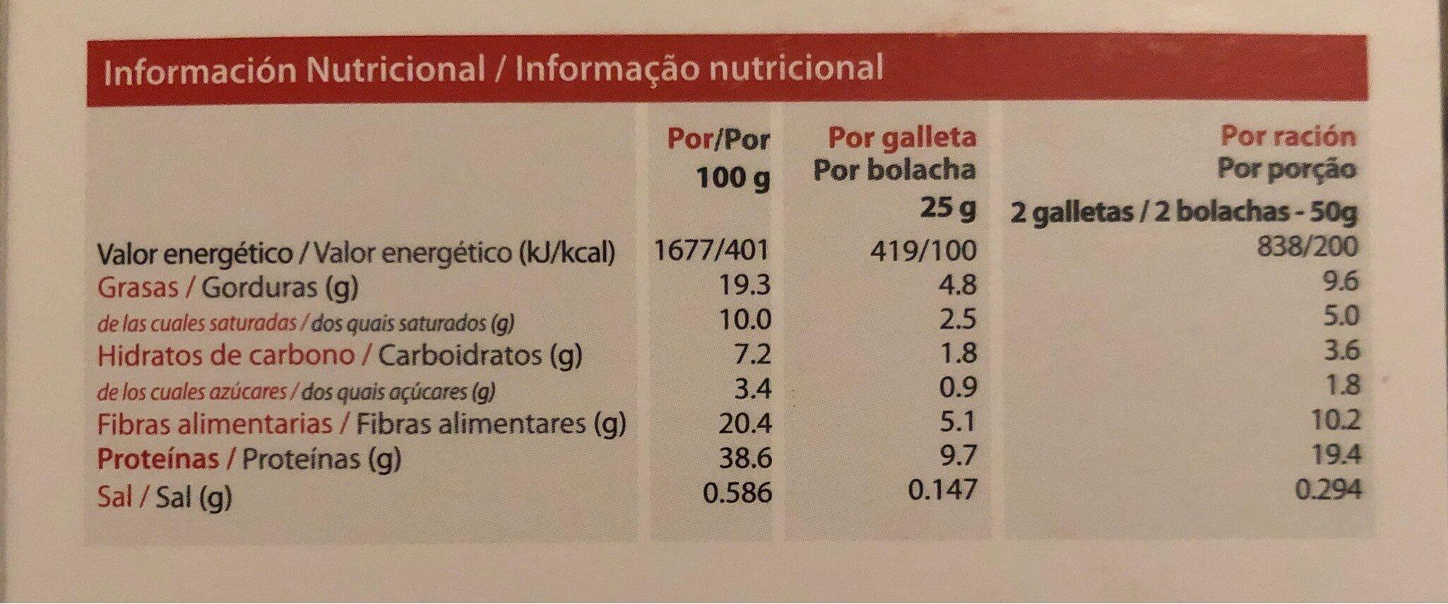 Galletas crujientes Brownie - Información nutricional