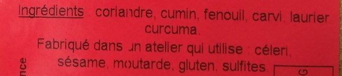 Épices Colombo - Ingrédients