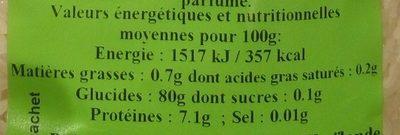 Riz long parfumé - Informations nutritionnelles - fr