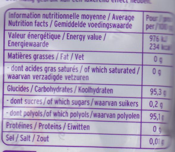 Violettes sans sucres Stévia - Voedingswaarden - fr