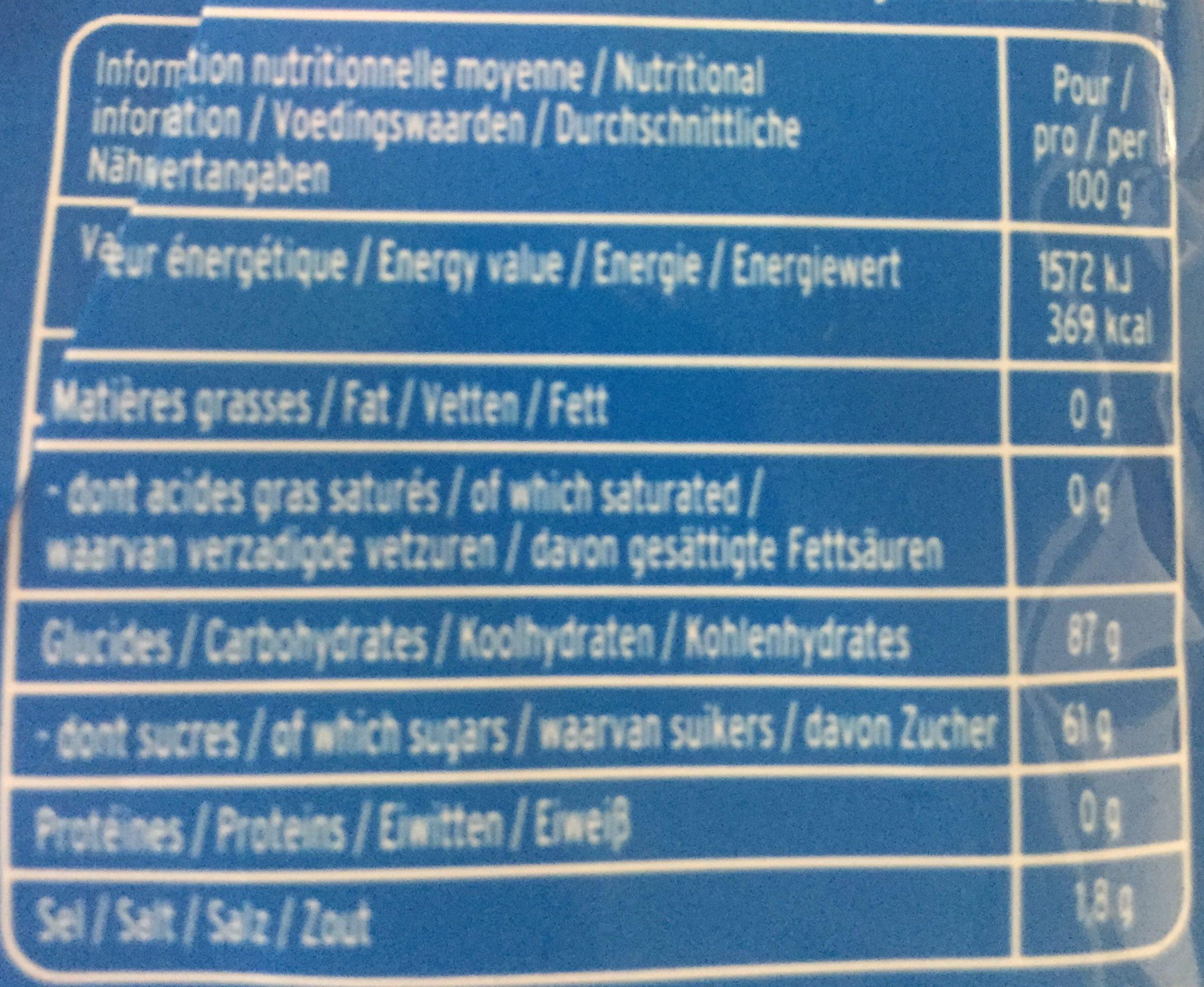 Tetes brulées - Nutrition facts