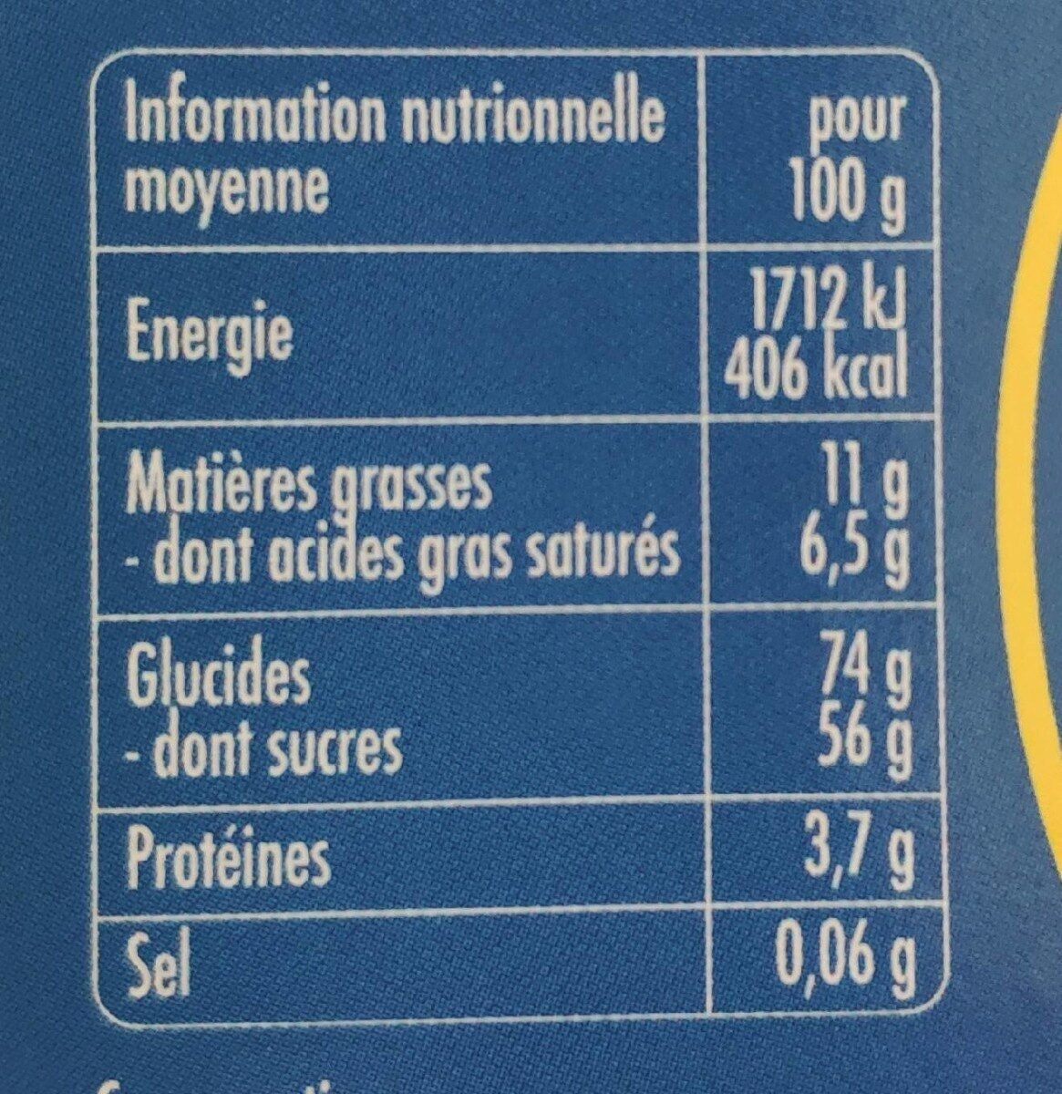 Ti'nounours - Nutrition facts