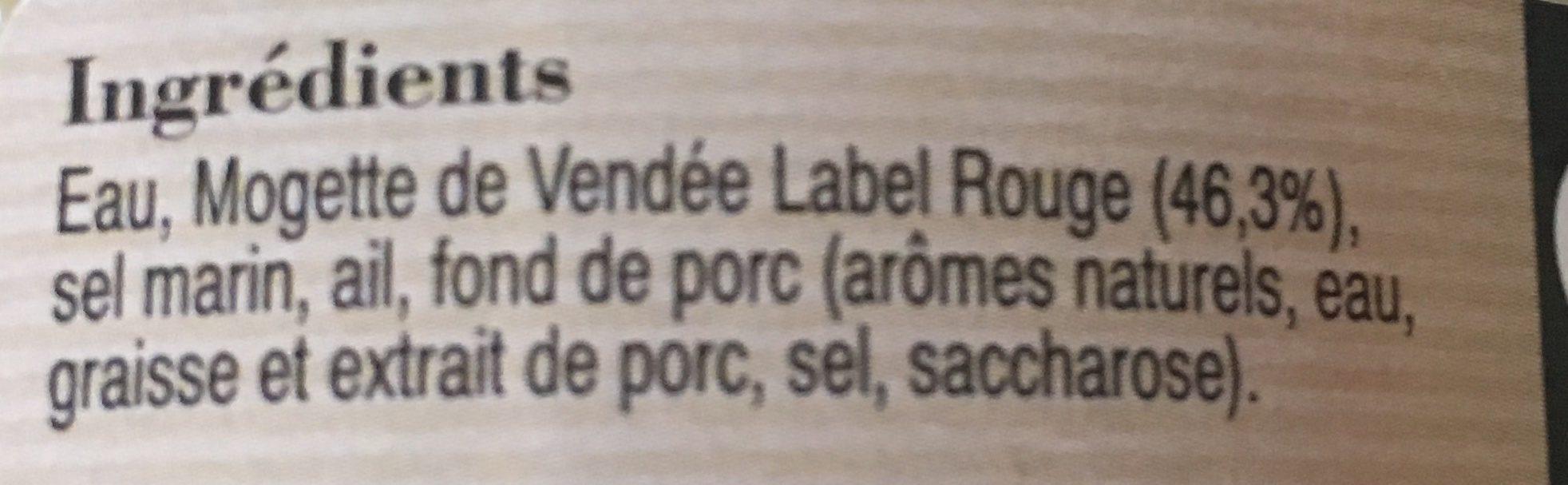 Mogette de Vendée à la campagnarde - Ingrédients