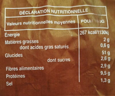 Baguette grande saveur - Valori nutrizionali - fr