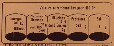 Saumon fumé Ecosse - Nutrition facts