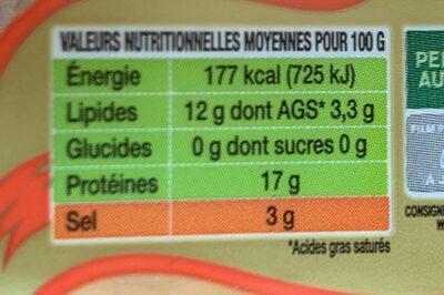 Filets de hareng fumés - Nutrition facts - fr