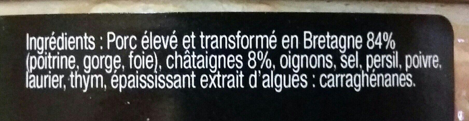 Pate De Campagne Breton Aux Chataignes - Ingrédients
