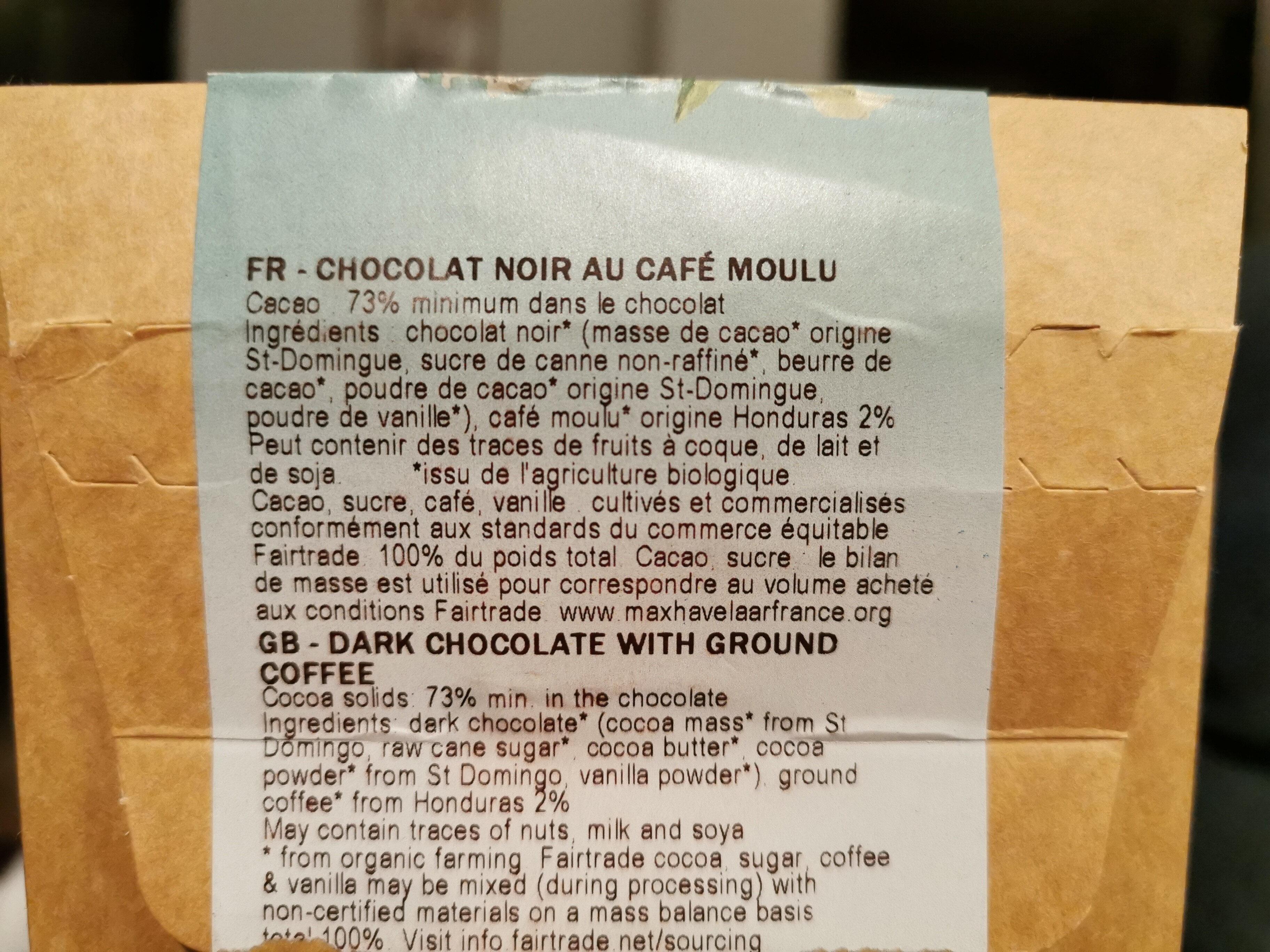 Chocolat noir bio au café d'Ethiopie - Ingrédients - fr