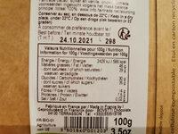 Chocolat noir bio au café d'Ethiopie - Informations nutritionnelles - fr