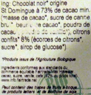 Chocolat noir citrons confits - Ingredients