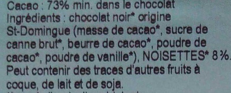 Chocolat noir bio noisettes - Ingredients