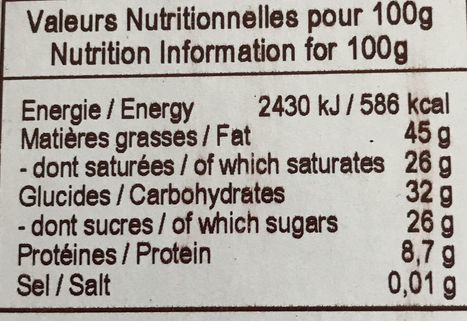 Chocolat noir bio noisettes - Nutrition facts