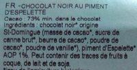 Chocolat noir bio piment d'Espelette - Ingrédients - fr