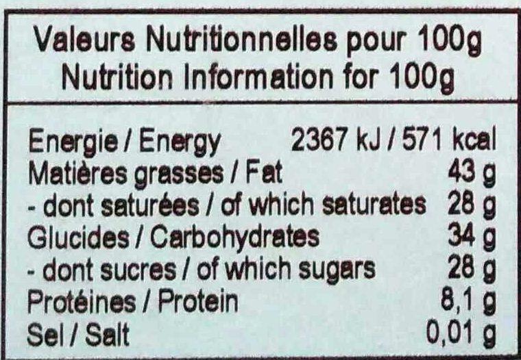 Chocolat noir bio piment d'Espelette - Informations nutritionnelles - fr