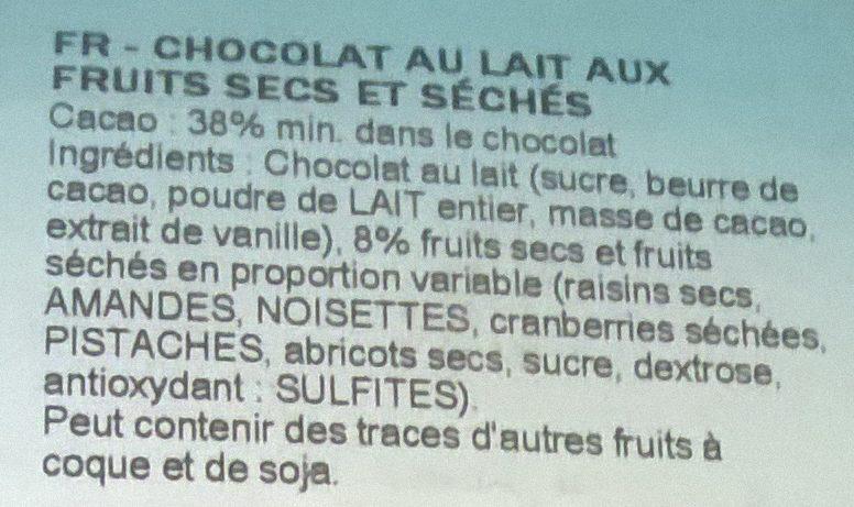 Chocolat au lait / fruits secs - Ingredients - fr