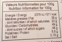 Chocolat au lait / fruits secs - Nutrition facts - fr