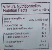 Chocolat lait caramel & sel de Guérande - Nutrition facts