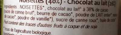Pâte à Tartiner Bio Chocolat au Lait - Noisettes - Ingredients