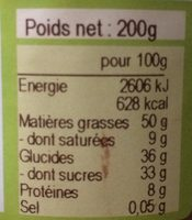 Pâte à Tartiner Bio Chocolat au Lait - Noisettes - Nutrition facts