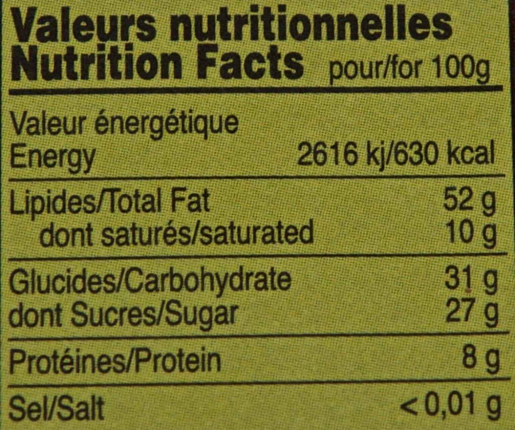 Véritable pâte à tartiner bio - Informations nutritionnelles - fr