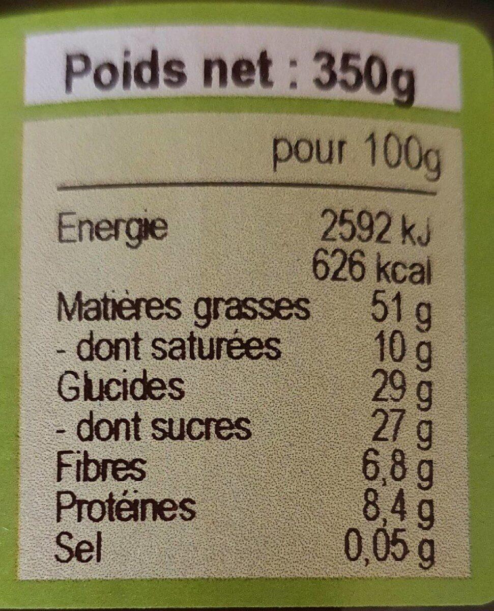 Pâte à tartiner Bio noisettes chocolat noir - Informations nutritionnelles - fr