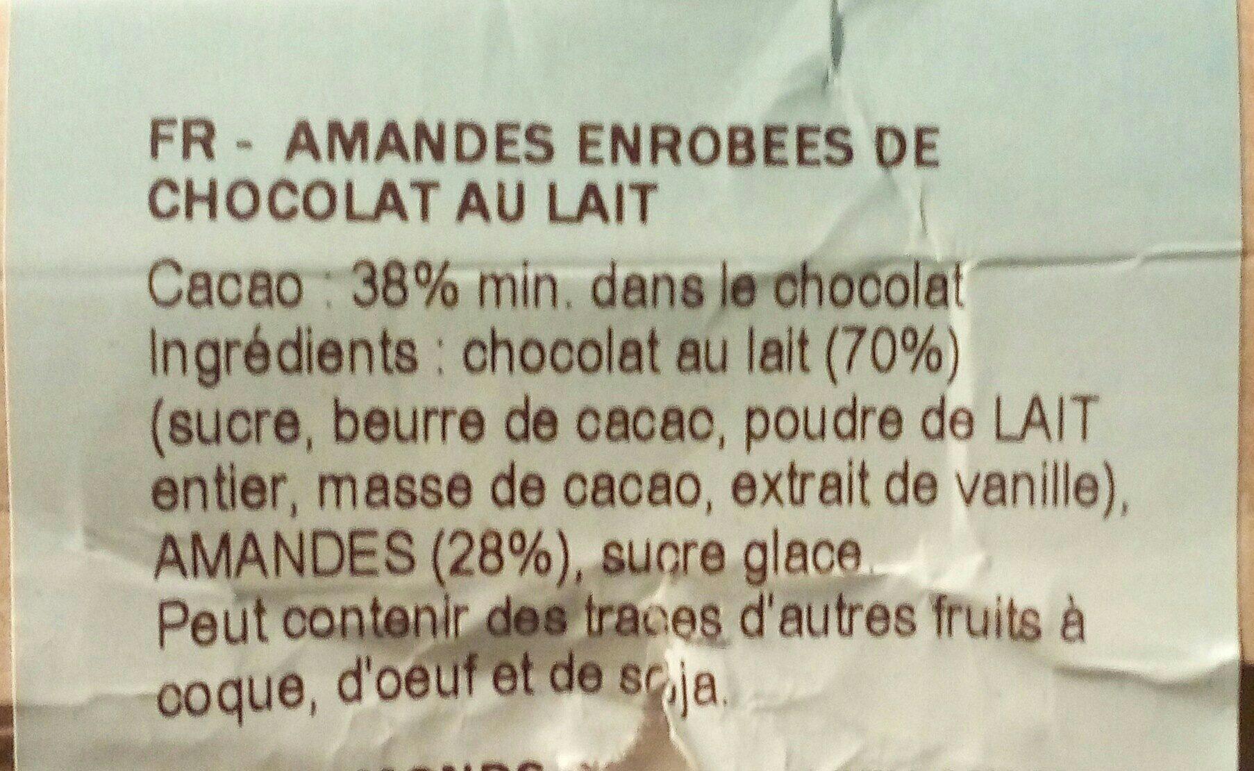 Amandes enrobees de chocolat au lait - Ingrédients