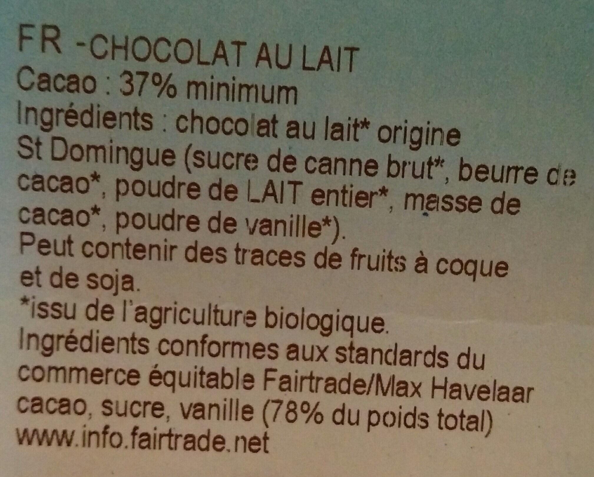 Chocolat au lait bio origine Saint-Domingue - Ingrediënten