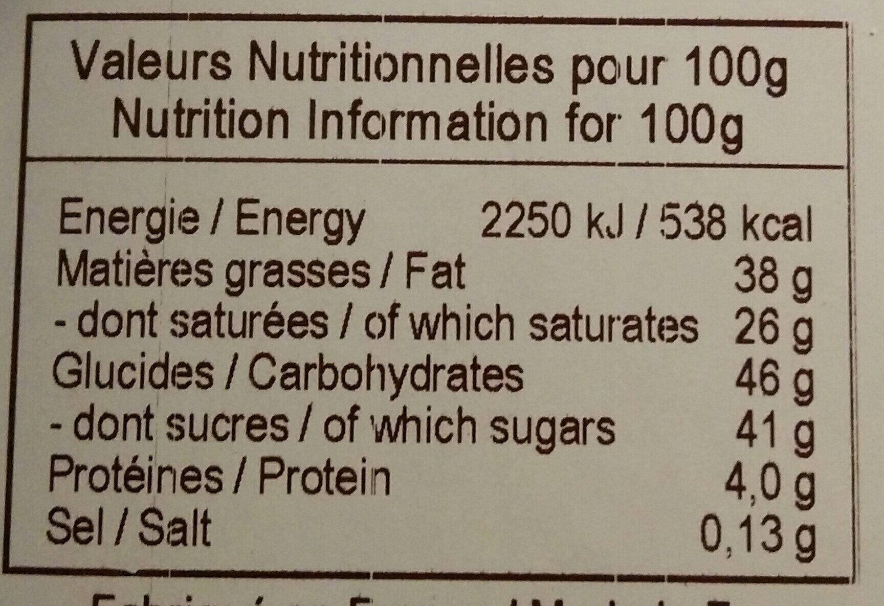 Chocolat au lait bio origine Saint-Domingue - Voedingswaarden