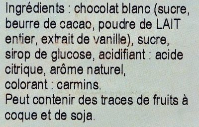 Chocolat Blanc Saveur Framboise - Ingredientes