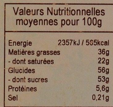 Chocolat Blanc Saveur Framboise - Información nutricional