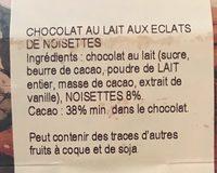 Chocolat au lait noisettes - Ingredients - fr