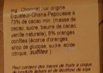 Chocolat noir oranges confites - Ingrédients - fr