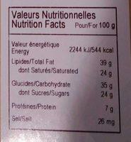 Chocolat noir oranges confites - Informations nutritionnelles - fr
