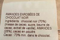 Amandes enrobées de Chocolat Noir - Ingrédients