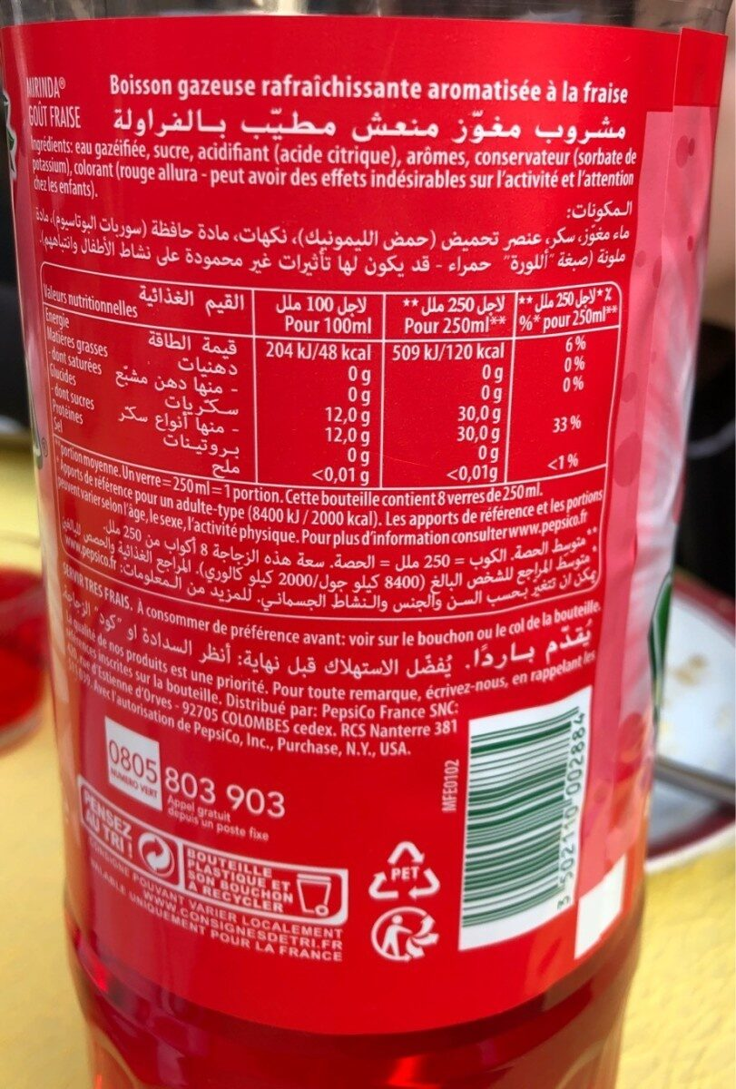 Mirinda goût fraise - Informations nutritionnelles - fr